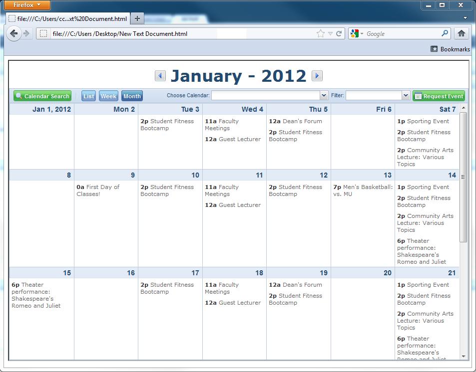 Url Access And Embedding Calendars